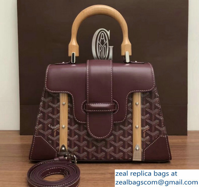 Goyard Wooden Handle Saigon PM Tote Bag Burgundy