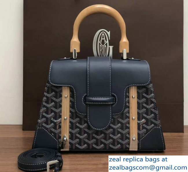 Goyard Wooden Handle Saigon PM Tote Bag Dark Blue