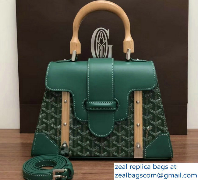 Goyard Wooden Handle Saigon PM Tote Bag Green