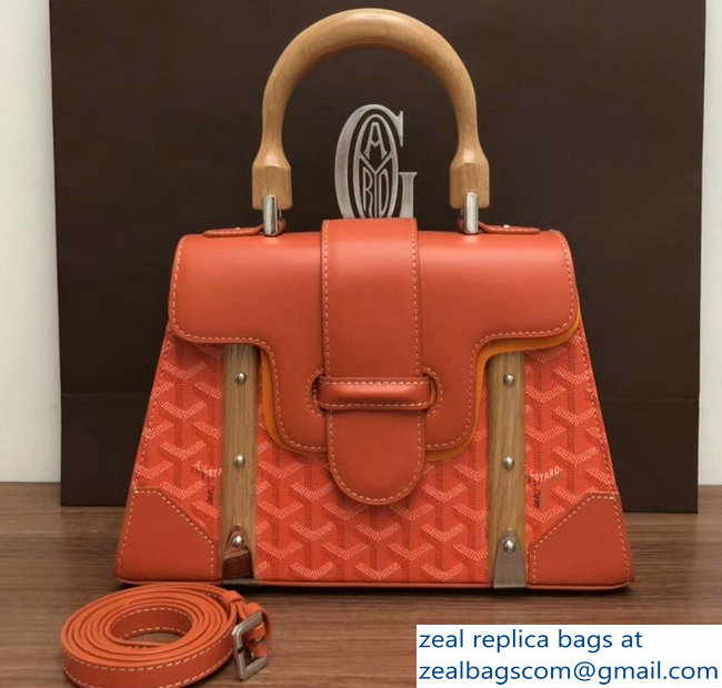 Goyard Wooden Handle Saigon PM Tote Bag Orange
