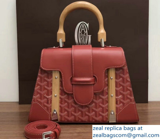 Goyard Wooden Handle Saigon PM Tote Bag Red