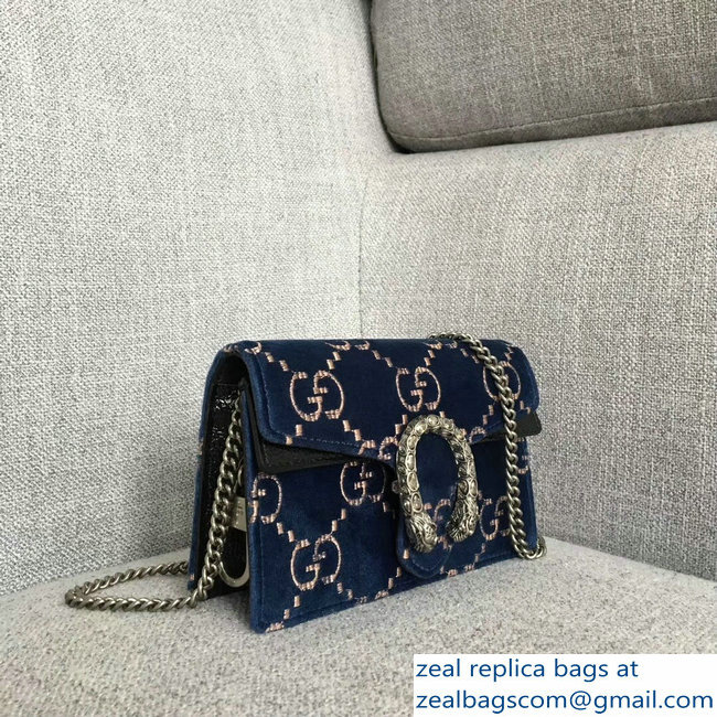 Gucci Dionysus GG Velvet Super Mini Bag 476432 Blue 2018   www ... 7e663c8ed07