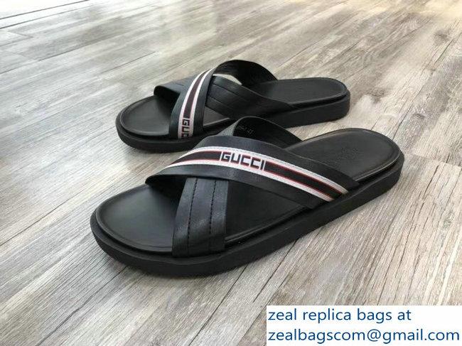 c46707d0b794c Gucci Logo Leather Stripe Straps Crossed Straps Men s Slide Sandals Black  Red White 2018