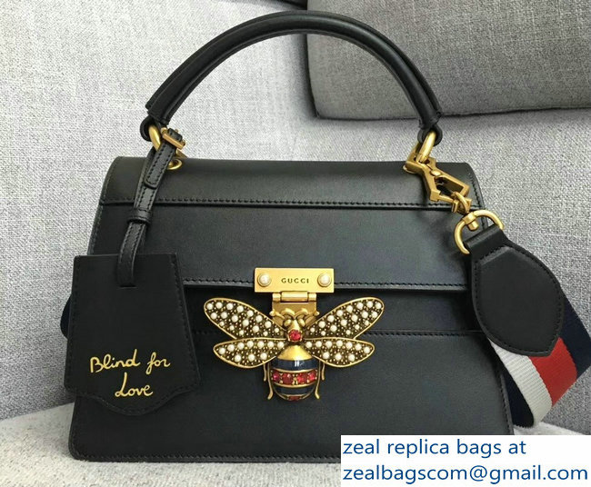 Gucci Queen Margaret Metal Bee Small Top Handle Bag 476541 Leather Black 2018