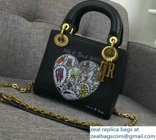 be803a93d226 Lady Dior Mini Chain Bag With Niki de Saint Phalle Bonn Print Black 2018