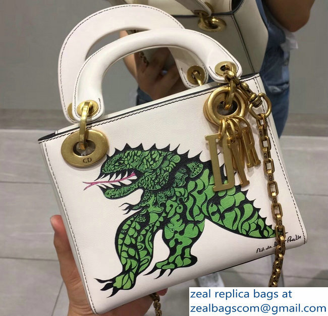 35889087b530 Lady Dior Mini Chain Bag With Niki de Saint Phalle Tu es mon dragon Print  2018