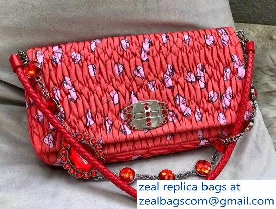 70a8c5513bf0 Miu Miu Cloque Fabric Crystal Shoulder Clutch Bag 5BD233 Heart Motif Red
