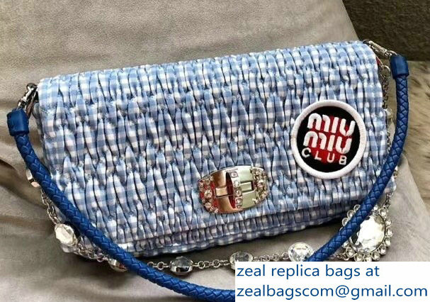 Miu Miu Cloque Fabric Crystal Shoulder Clutch Bag 5BD233 Logo Club Blue