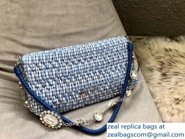 0b9bd518600a Miu Miu Cloque Fabric Crystal Shoulder Clutch Bag 5BD233 Logo Club Blue