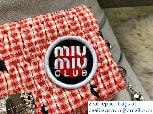 Miu Miu Cloque Fabric Crystal Shoulder Clutch Bag 5BD233 Logo Club Pink