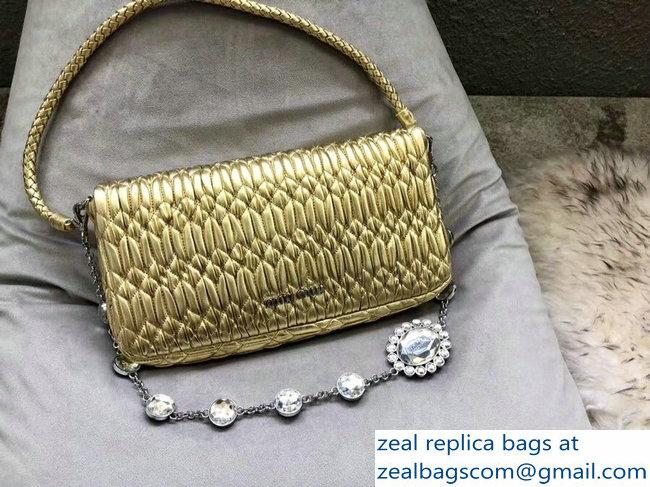 3c172c097f82 Miu Miu Cloque Pearlite Crystal Shoulder Clutch Bag 5BD233 Metallic Gold