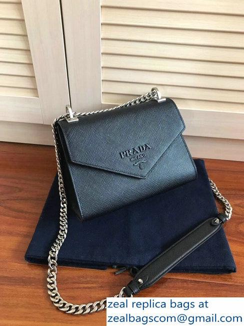 41ebee3e8ec4 Prada Monochrome Saffiano Leather Shoulder Bag 1BD127 Black 2018 ...