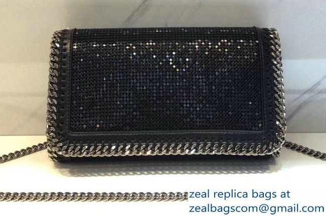 Stella McCartney Falabella Metallic Sequins Cross Body Bag Black 2018