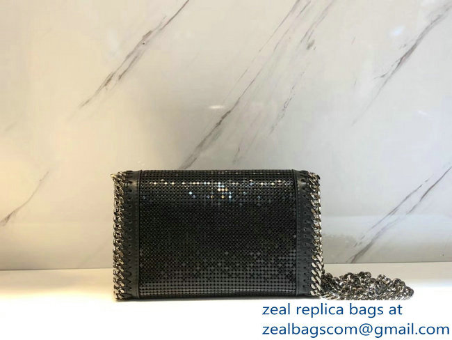 Stella McCartney Falabella Metallic Sequins Tiny Fold Over Tote Bag Black 2018