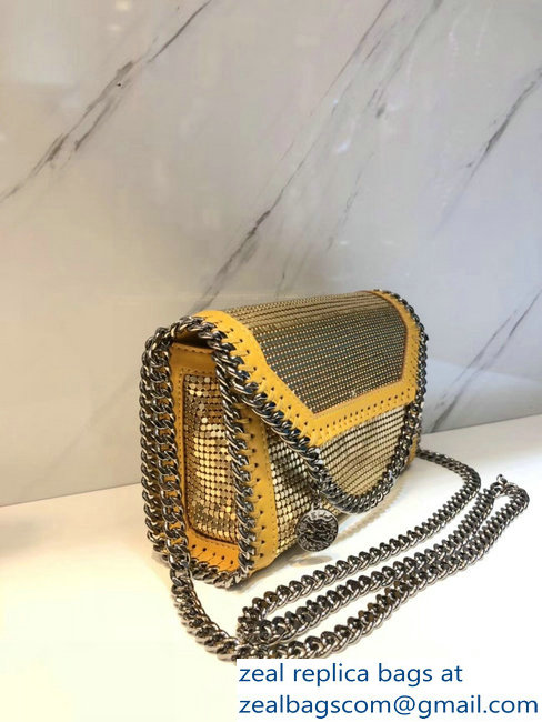 Stella McCartney Falabella Metallic Sequins Tiny Fold Over Tote Bag Yellow 2018