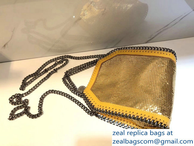 Stella McCartney Falabella Metallic Sequins Tiny Tote Bag Yellow 2018