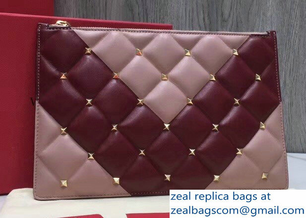 Valentino Candystud Clutch Pouch Bag Chevron Light Pink/Burgundy 2018