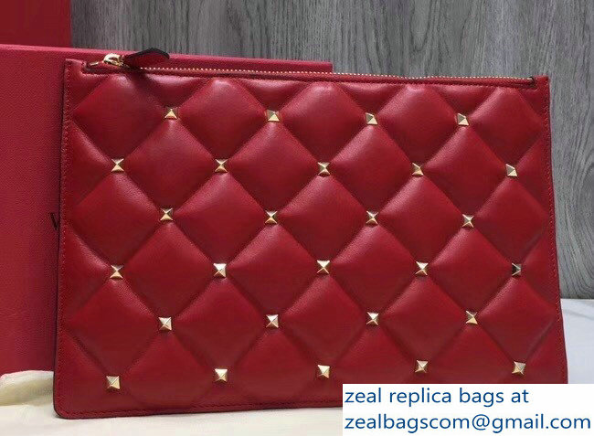 Valentino Candystud Clutch Pouch Bag Red 2018