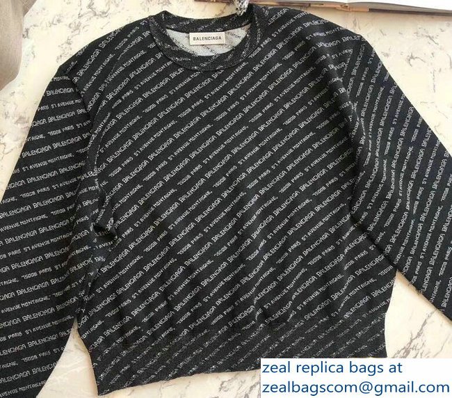 Balenciaga All Over Logo Knit Sweater Black 2018