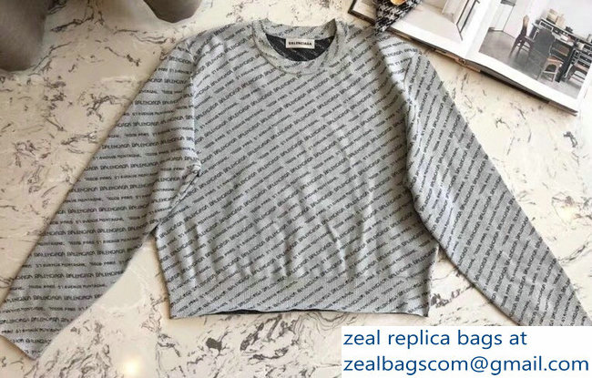 Balenciaga All Over Logo Knit Sweater Gray 2018