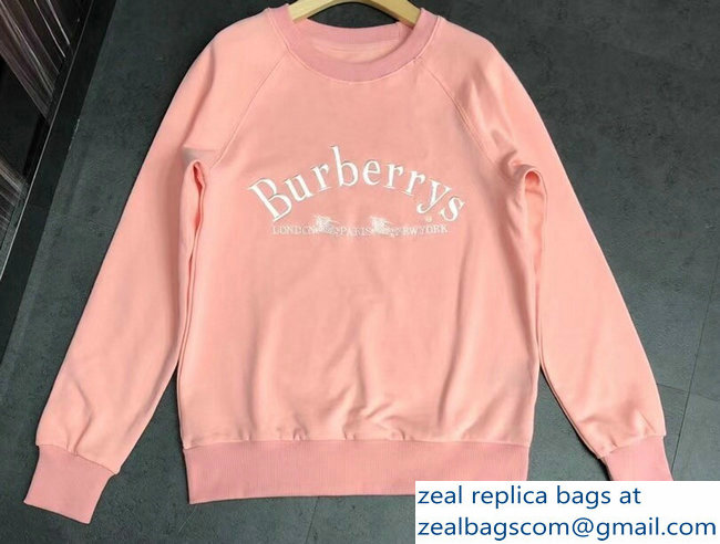 Burberry Embroidered Archive Logo Jersey Sweatshirt Pink 2018