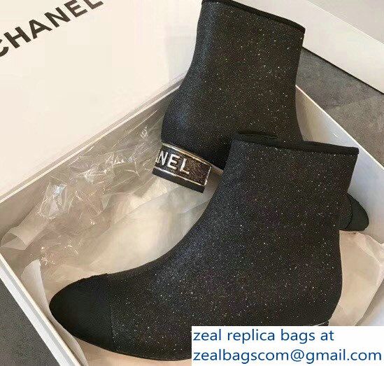 Chanel Short Boots G33840 Grosgrain Glitter Black 2018