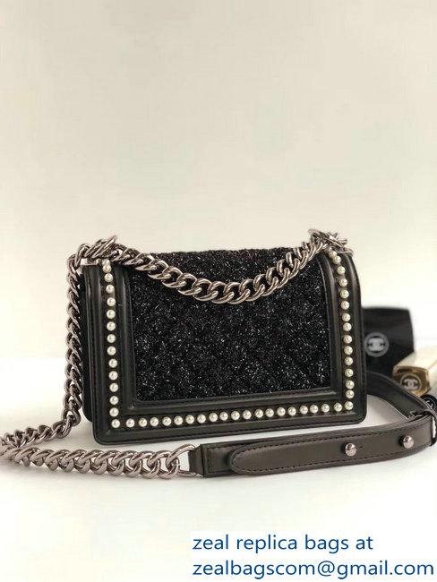 Chanel Tweed Pearls Small Boy Flap Bag Black 2018   www.zealbag.ru 61a128454f9d7