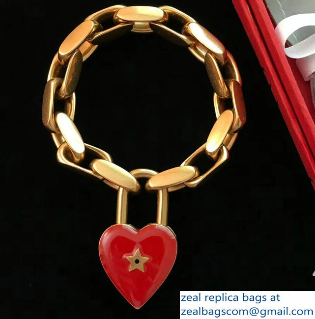 Dior Lucky Locket Bracelet With Red Heart Padlock 2018