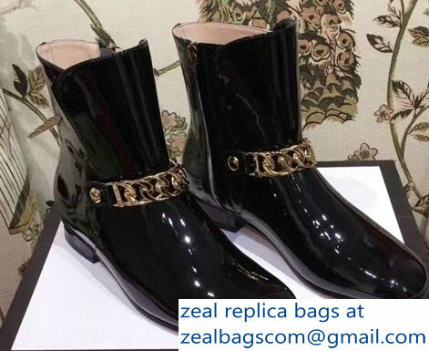 Gucci Chain Leather Boots Black 2018