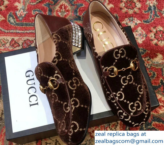 Gucci Horsebit Coffee GG Velvet Loafers With Crystals 522698 2018