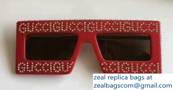 20d297d061 Gucci Mask-Frame Acetate Sunglasses With Crystals Logo 543935 02 2018
