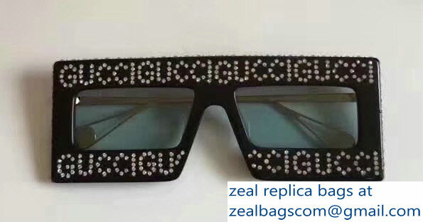 59a6940cd1 Gucci Mask-Frame Acetate Sunglasses With Crystals Logo 543935 05 2018