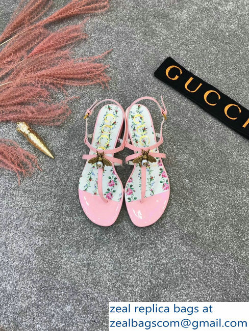 4d8771e9796c1a Gucci Metal Bee With Pearl Patent Leather Thong Sandals 524624 Pink ...