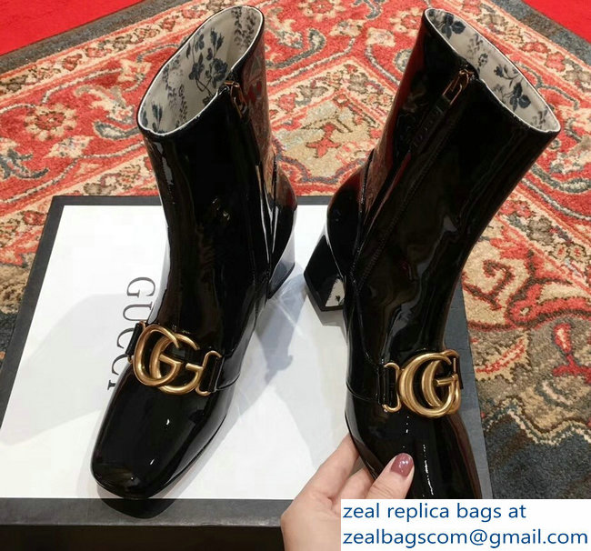 Gucci Patent Leather Ankle Boots Black With Double G 524658 2018 ... c1552715d70
