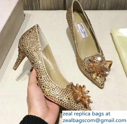 Jimmy Choo Heel 6.5cm Flower and Crystal Covered Pumps Gold 2018