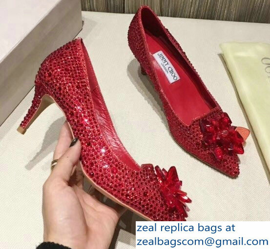 Jimmy Choo Heel 6.5cm Flower and Crystal Covered Pumps Red 2018