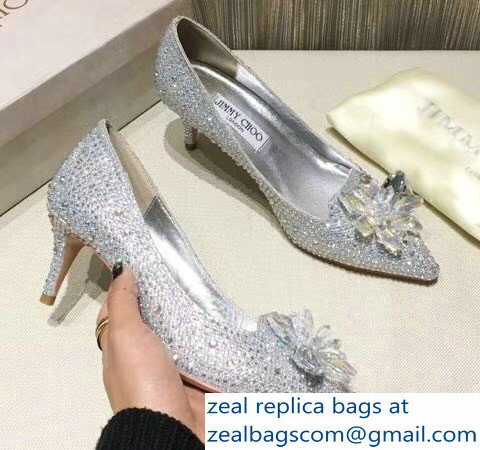 Jimmy Choo Heel 6.5cm Flower and Crystal Covered Pumps Silver 2018