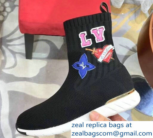 Louis Vuitton LV Heart Patches Sock Sneakers Boots Black 2018