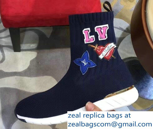 Louis Vuitton LV Heart Patches Sock Sneakers Boots Blue 2018