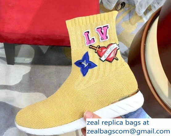 Louis Vuitton LV Heart Patches Sock Sneakers Boots Yellow 2018