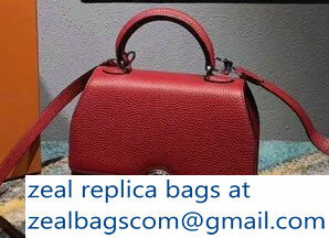 Moynat Mini Rejane BB Bag in Taurillon Gex Togo Leather Red