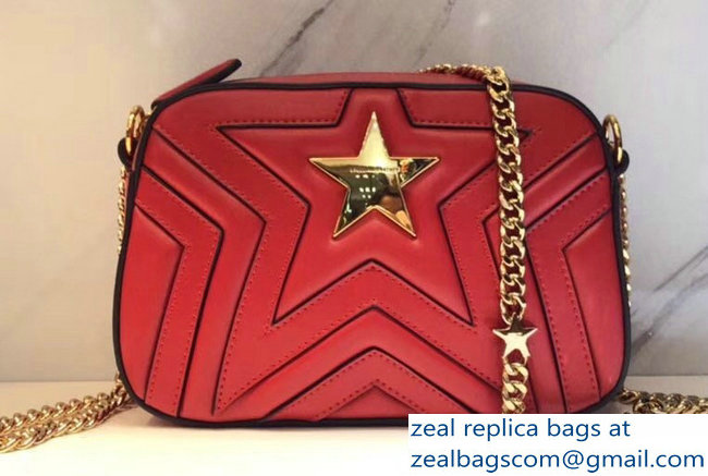 Stella Mccartney Quilted Stella Star Shoulder Bag Red 2018