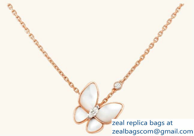 VanCleef & Arpels Two Butterfly Pendant Necklace Pink Gold