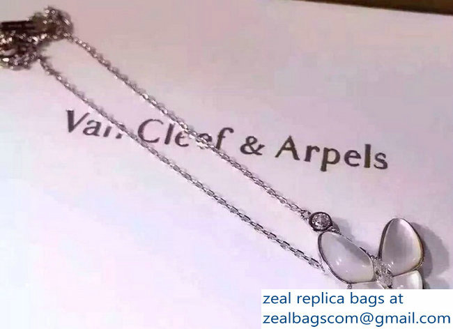 VanCleef & Arpels Two Butterfly Pendant Necklace Silver