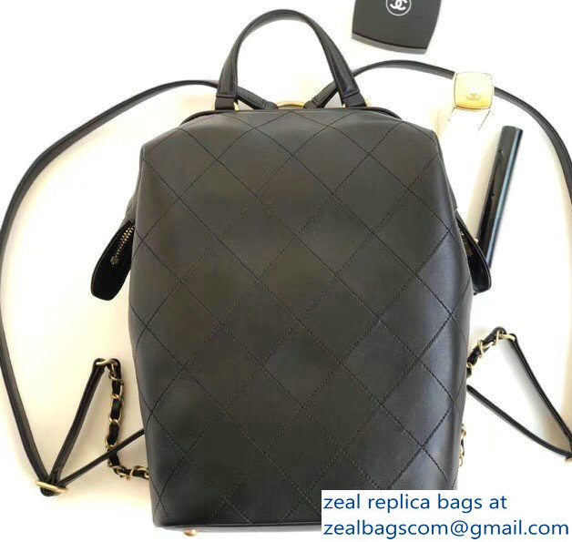 Chanel Lambskin and Gold-Tone Metal Backpack Large Bag A57558 Black 2018 be333111562f0