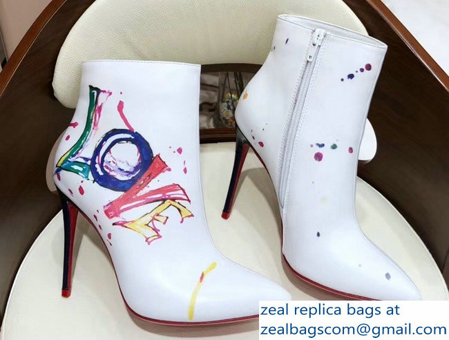 Christian Louboutin Heel 10cm Boot In Love Ankle Boots White 2018