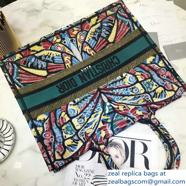 Dior Book Tote Bag In Embroidered Canvas Butterfly 2018