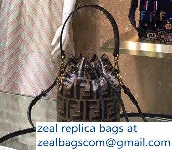 Fendi Mon Tresor Leather Bucket Mini Bag FF Logo Coffee 2018 3d07d3a1ec5bc