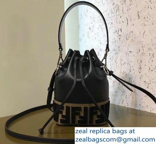 Fendi Mon Tresor Leather Bucket Mini Bag FF Logo In The Carpet-Weave  Pattern 2018 c09271c6c90d9