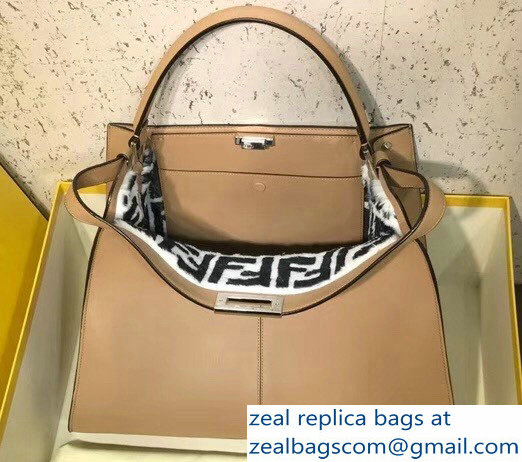 Fendi Peekaboo X-Lite Leather Bag Shearling FF Beige 2018